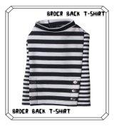 ボーダーBACK釦付き7分袖Tシャツ